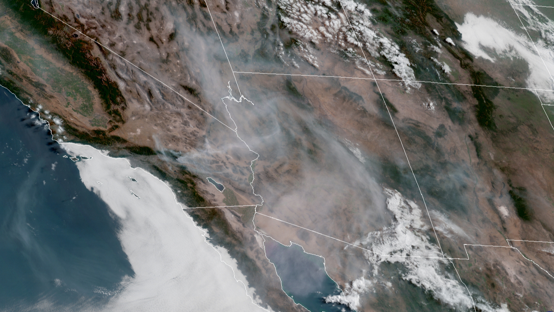Satellite imagery shows much of Arizona shrouded in smoke from the Apple Fire burning in the San Bernardino Mountains on Aug. 3, 2020. (GOES-17/NOAA)