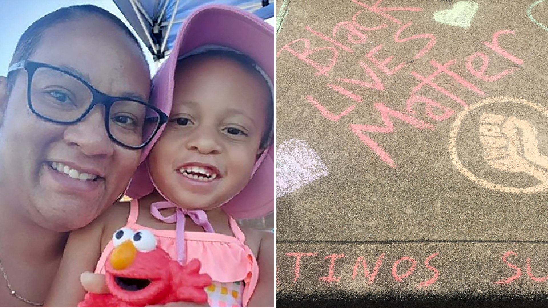 "Manette Sharick and her 3-year-old daughter, Zhuri, drew ""Black Lives Matter"" in chalk across the sidewalk outside their home in Concord, California. (Courtesy Manette Sharick via CNN)"
