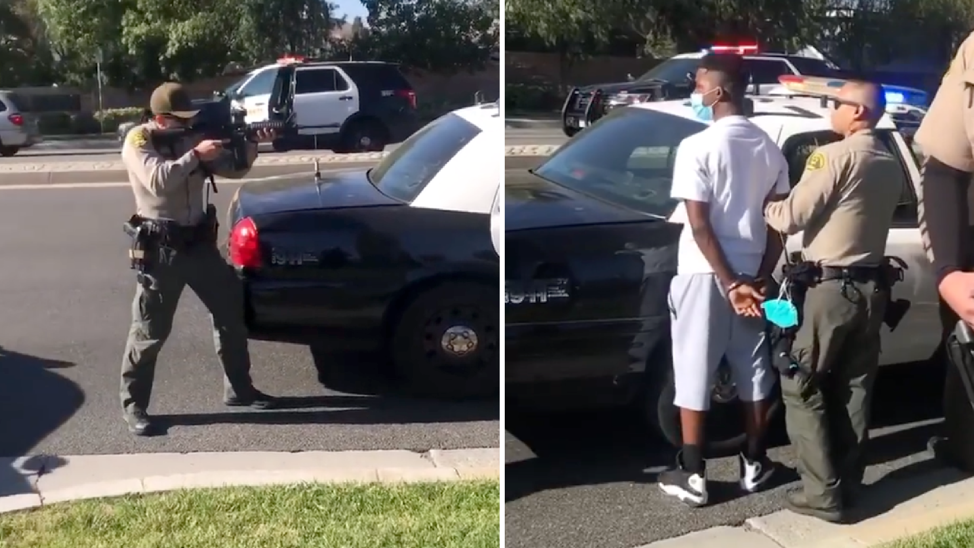 Deputies point guns at and detain teens in Santa Clarita on Aug. 7, 2020. (tammilaray/ Instagram)