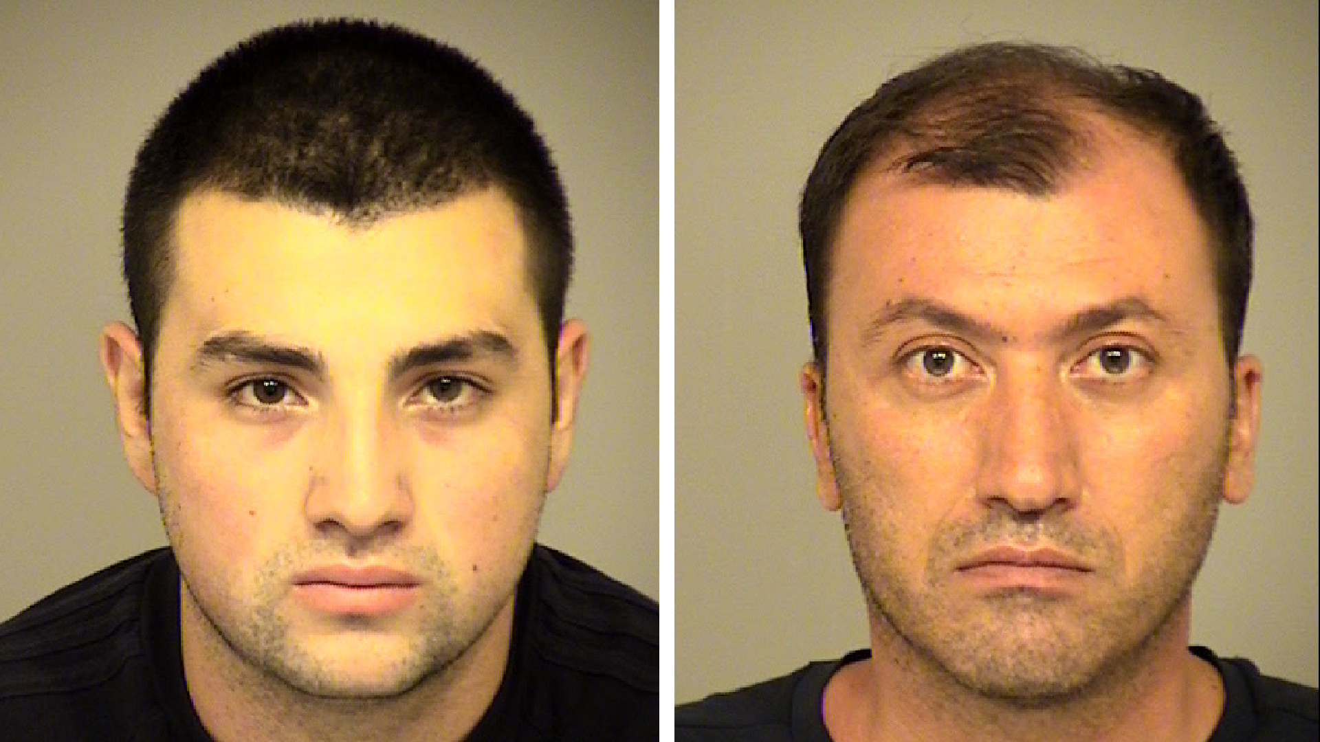 Karapet Gasparyan, 39, and Grigor Gasparyan, 18, are seen in undated booking photos provided by the Ventura County Sheriff's Office.