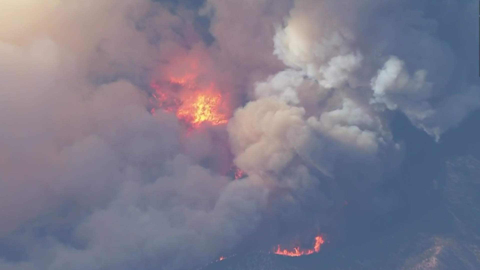 Aerials from Sky5 show the Lake Fire burning in the Angeles National Forest near Lake Hughes on Aug. 12, 2020. (KTLA)