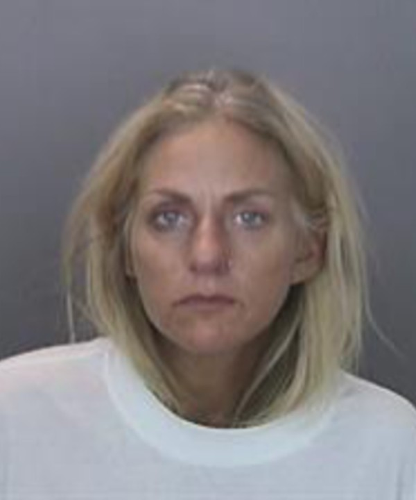 Courtney Pandolfi is seen in a booking photo released by Anaheim police.