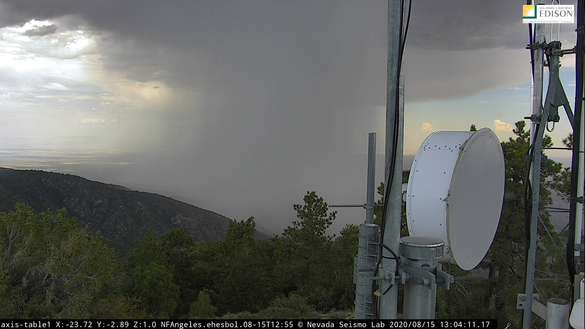 View of heavy rain producing thunderstorm near Llano in the Antelope Valley on Aug. 15, 2020. (SoCal Edison via NWS)