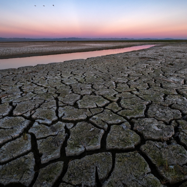 In this photo from Jan. 1, 2019, mud is seen on land that was under the Salton Sea near Calipatria. (David McNew/Getty Images for Lumix)