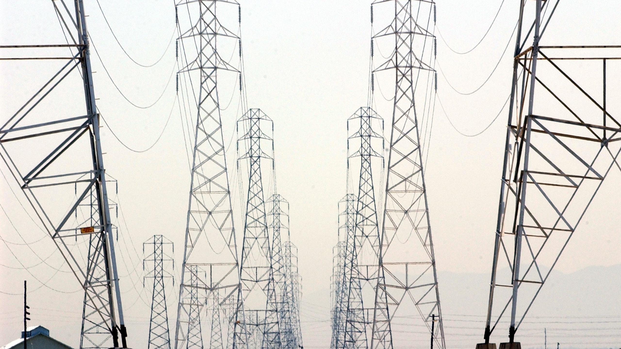 Power line towers are shown in a file photo from July 2002 in Palo Alto. (Justin Sullivan/Getty Images)