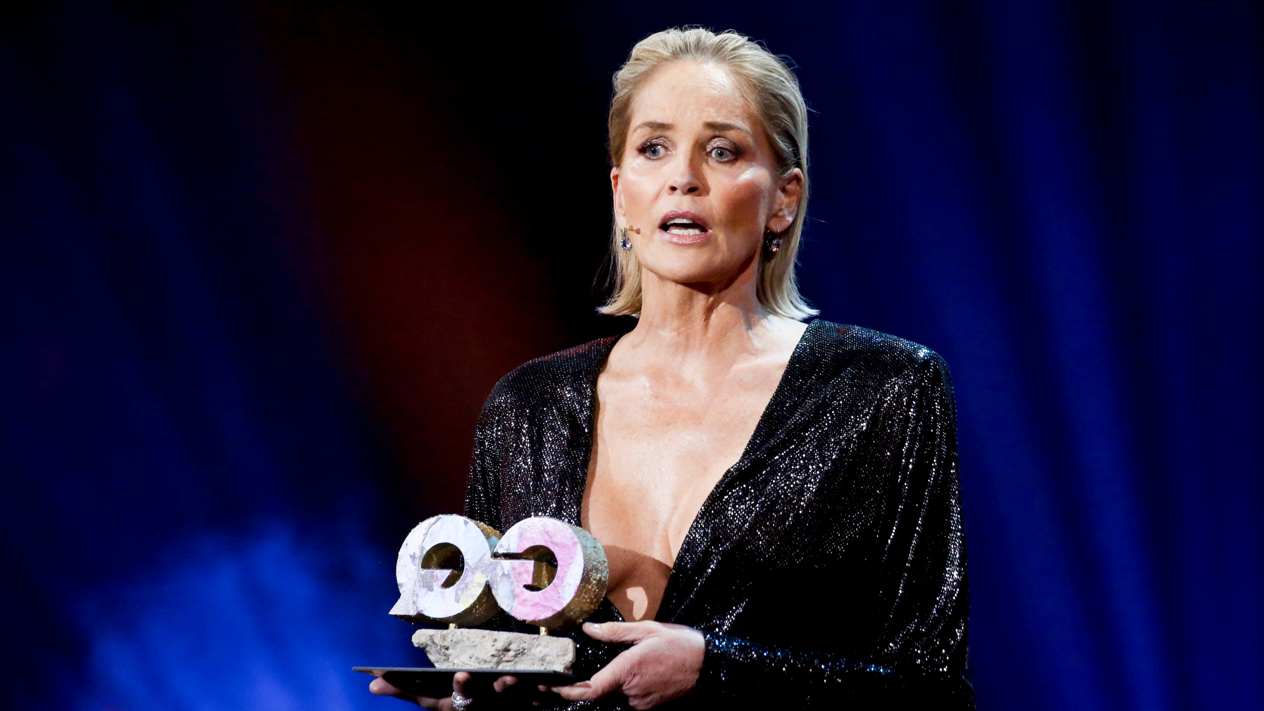Sharon Stone is seen on stage during the GQ Men of the Year Award show at Komische Oper on Nov. 7, 2019 in Berlin, Germany. (Isa Foltin/Getty Images for GQ Germany)