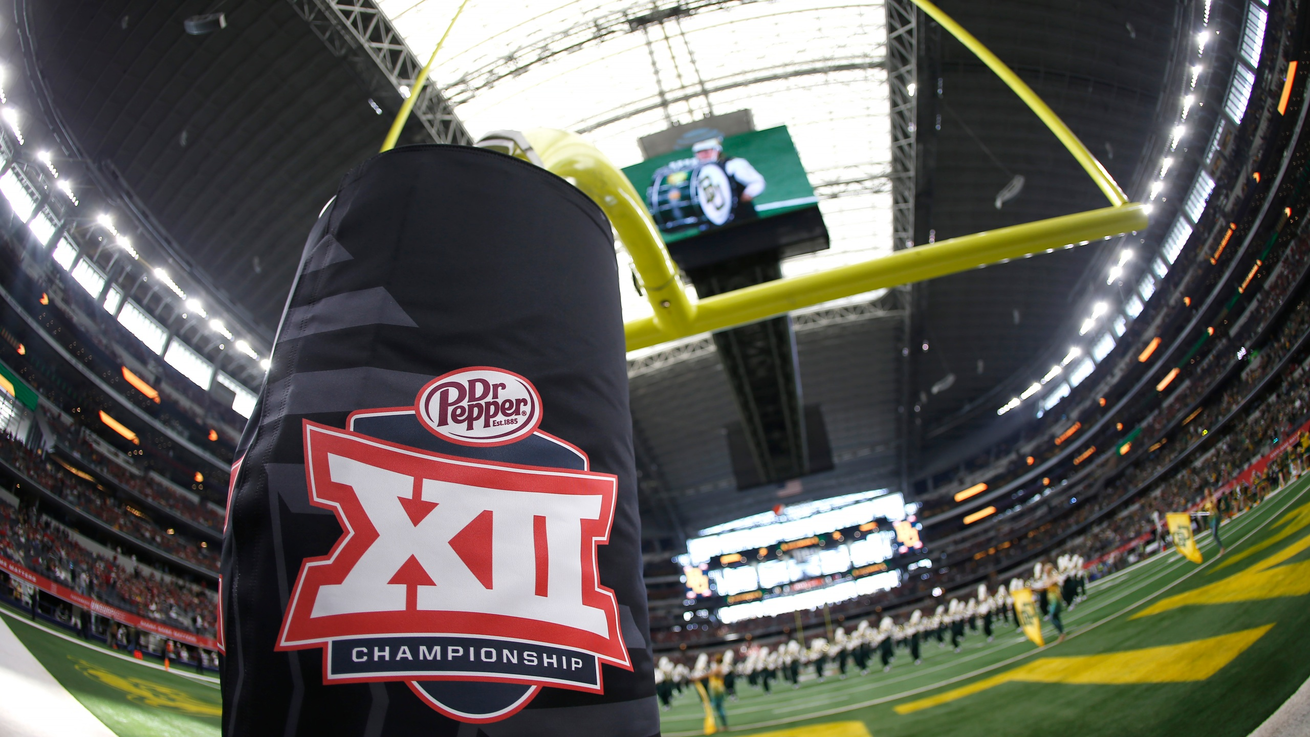 Detail view of Big 12 logo as the Baylor Bears band plays on the field before Baylor plays the Oklahoma Sooners in the Big 12 Football Championship at AT&T Stadium on December 7, 2019 in Arlington, Texas. (Ron Jenkins/Getty Images)