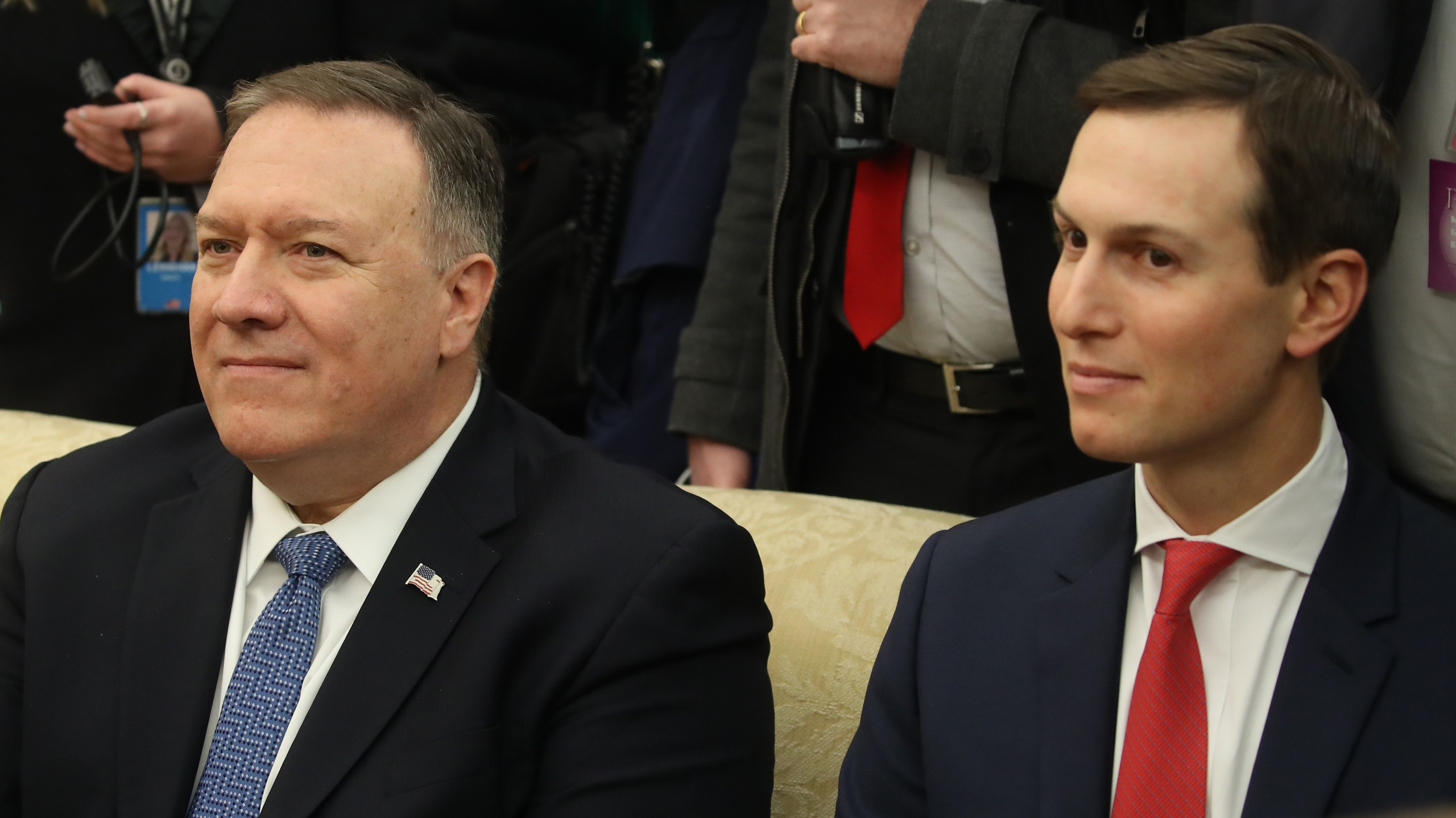 Secretary of State Mike Pompeo (L) and Senior White House Advisor Jared Kushner attend a meeting in the Oval Office with U.S. President Donald Trump andIsraeli Prime Minister Benjamin Netanyahu, at the White House on Jan. 27, 2020, in Washington, D.C. (Mark Wilson/Getty Images)