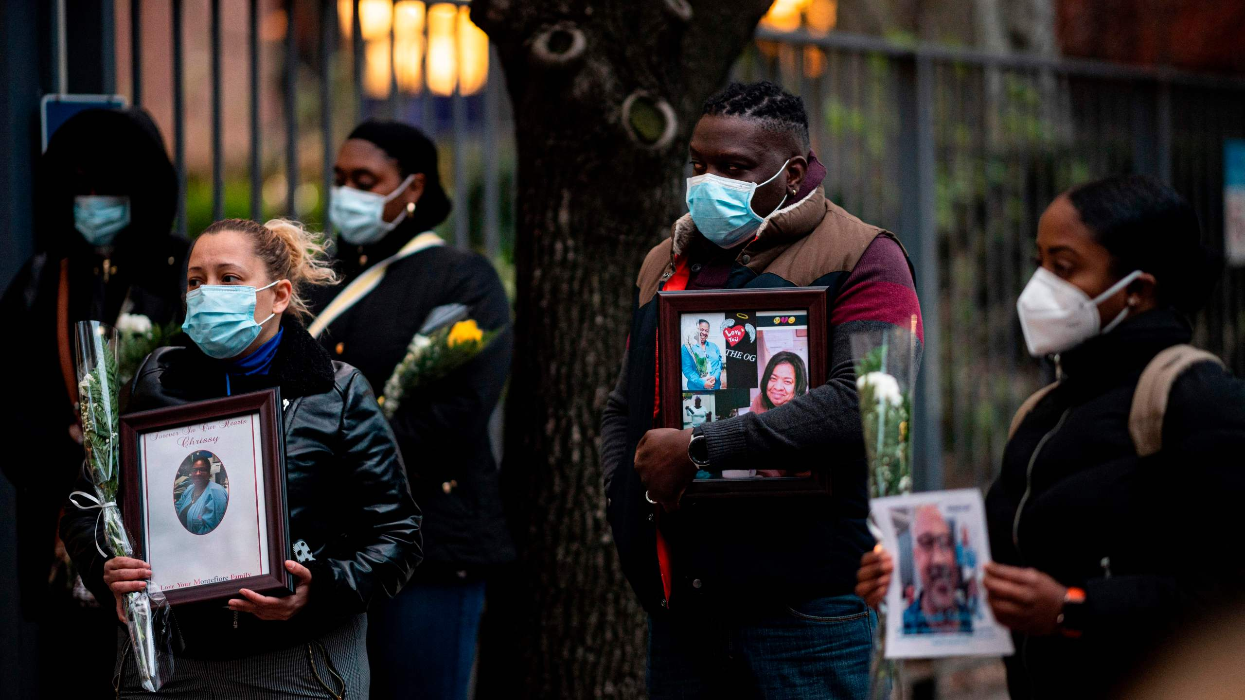 Nurses and health care workers mourn and remember their colleagues who died during the COVID-19 outbreak at a demonstration outside Mount Sinai Hospital in Manhattan on April 10, 2020 in New York City. (JOHANNES EISELE/AFP via Getty Images)