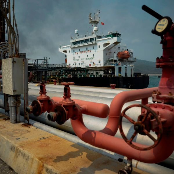 The Iranian-flagged oil tanker, Fortune, is docked at the El Palito refinery after its arrival to Puerto Cabello in the northern state of Carabobo, Venezuela, on May 25, 2020. (AFP via Getty Images)