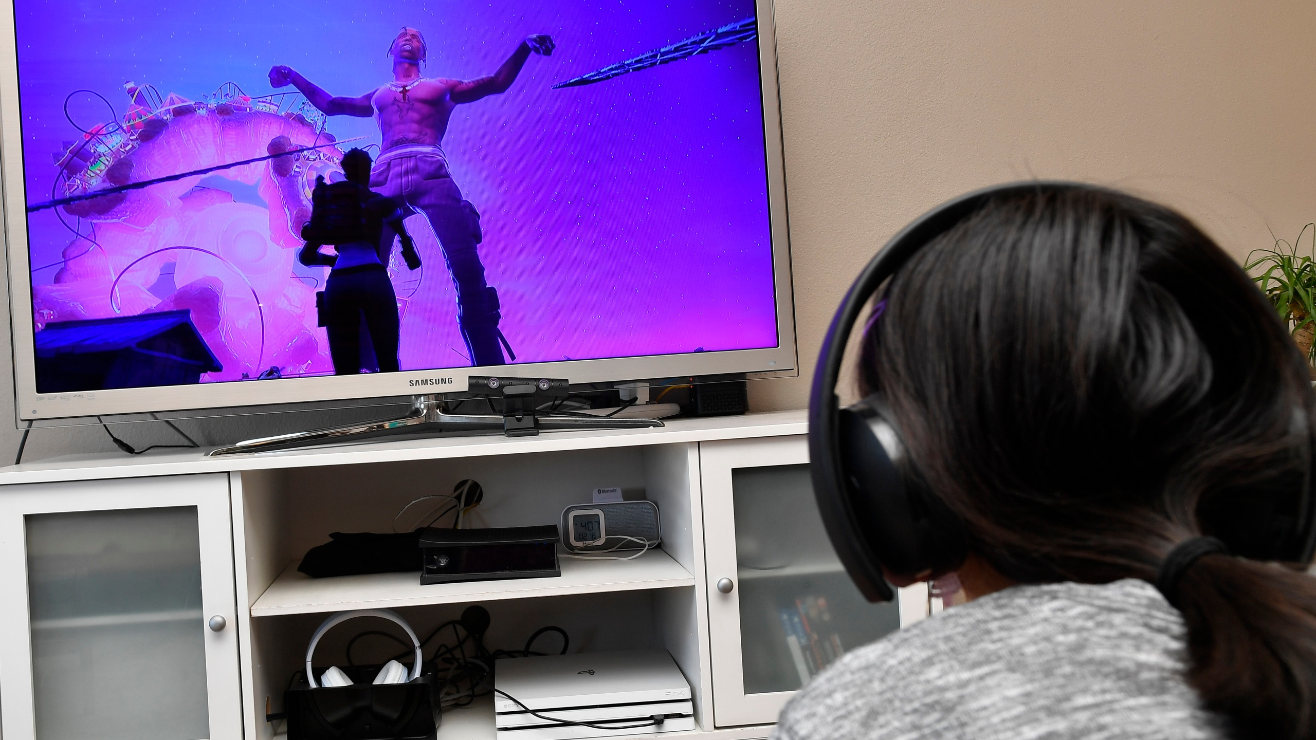 A 15 year-old plays Fortnite featuring Travis Scott Presents: Astronomical on April 23, 2020, in Los Angeles. (Frazer Harrison/Getty Images)