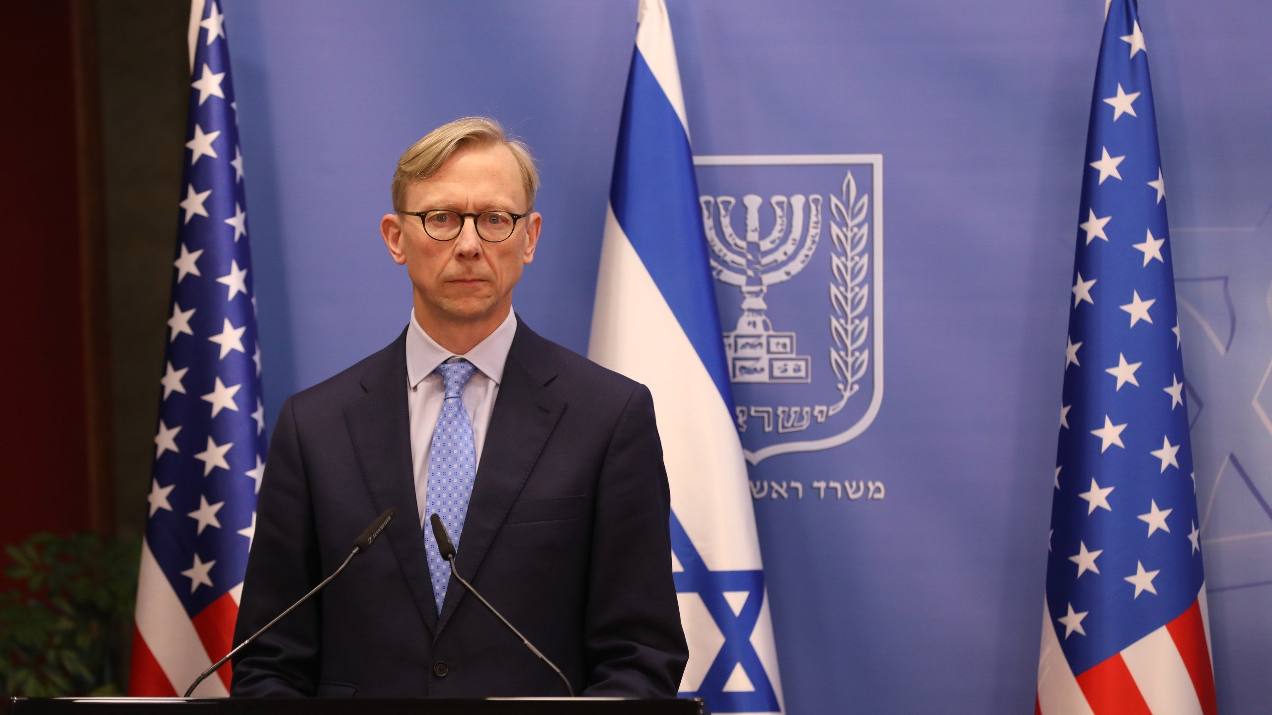 U.S. special representative for Iran, Brian Hook, pauses during a press conference with the Israeli prime minister in Jerusalem on June 30, 2020. (ABIR SULTAN / POOL / AFP via Getty Images)