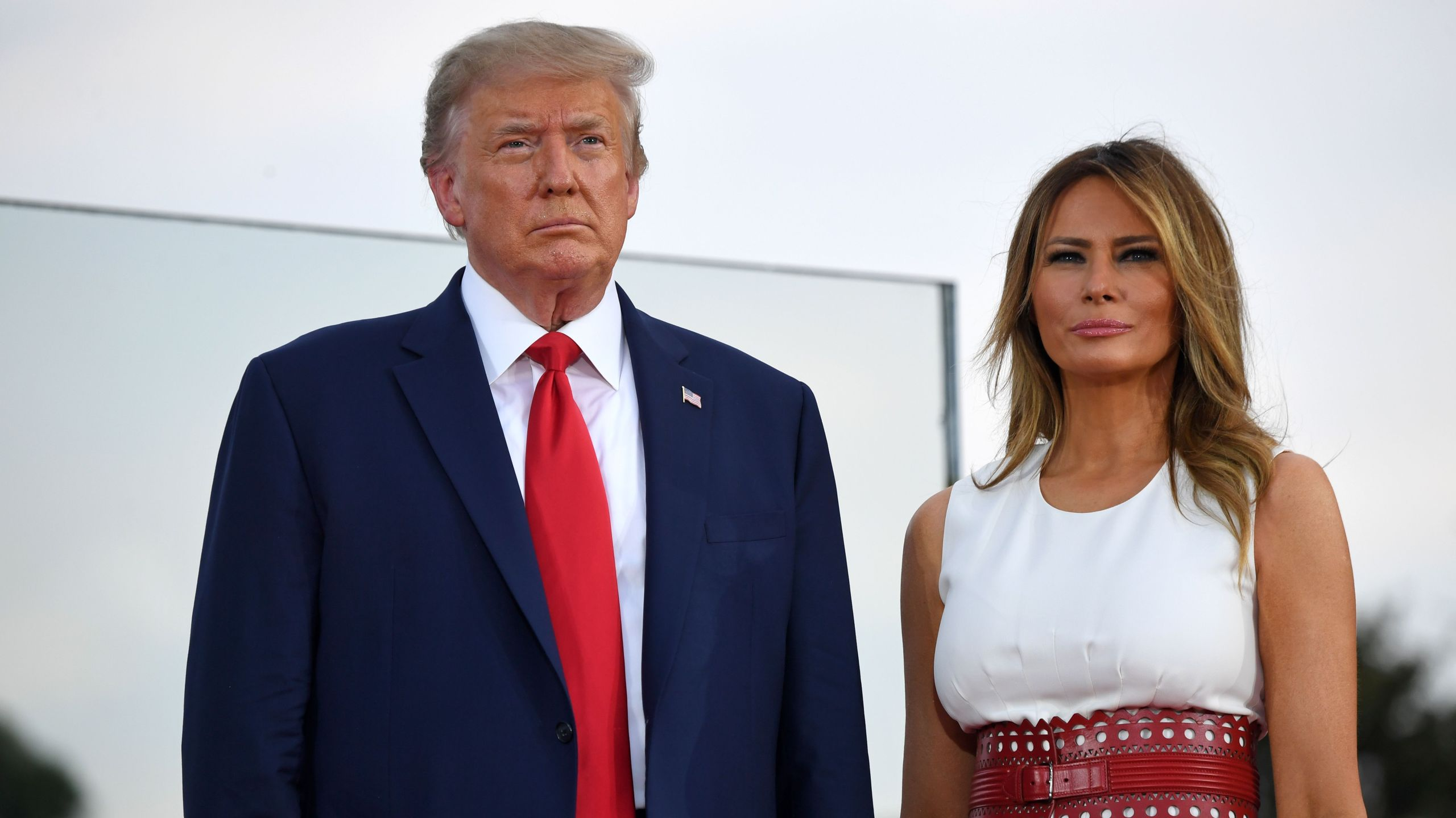 "US President Donald Trump and First Lady Melania Trump host the 2020 ""Salute to America"" event in honor of Independence Day on the South Lawn of the White House in Washington, DC, July 4, 2020. (SAUL LOEB/AFP via Getty Images)"