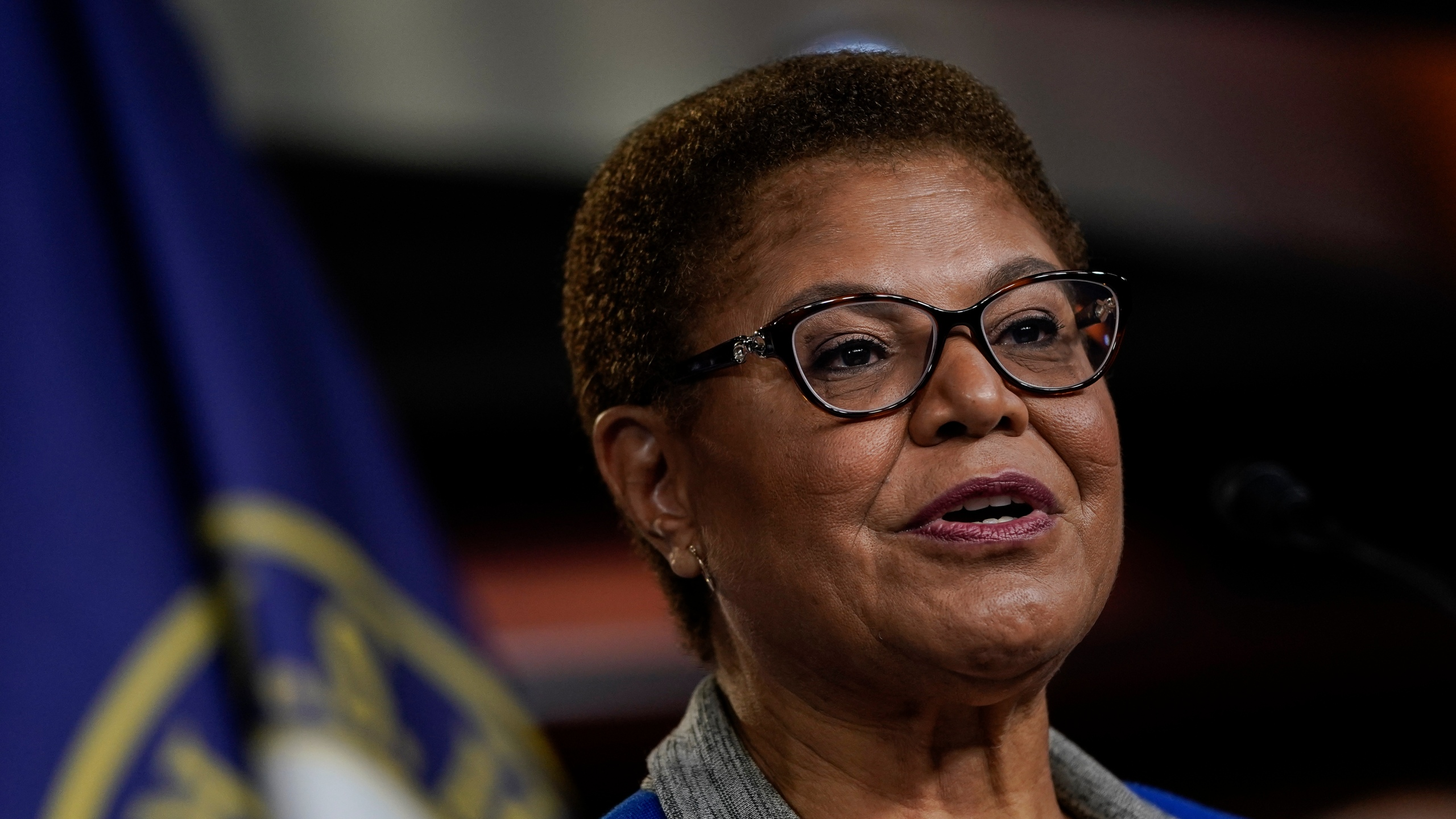 Chair of the Congressional Black Caucus (CBC) Rep. Karen Bass (D-CA) speaks during a news conference to discuss an upcoming House vote regarding statues on Capitol Hill on July 22, 2020, in Washington, D.C. House Democrats have introduced a bill that would replace the bust of former Supreme Court Chief Justice Roger B. Taney in the Old Supreme Court Chamber at the U.S. Capitol with one of former Justice Thurgood Marshall. Taney was the author of the 1857 Dred Scott decision that declared African Americans couldn't be citizens. (Drew Angerer/Getty Images)