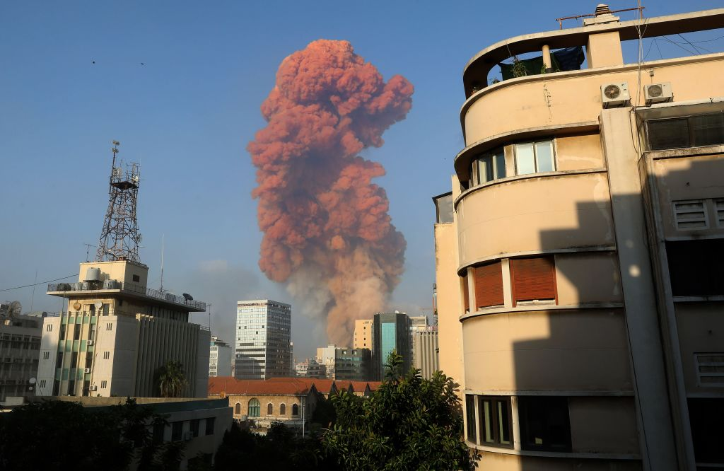 A picture shows the scene of an explosion in Beirut on Aug. 4, 2020. (ANWAR AMRO/AFP via Getty Images)