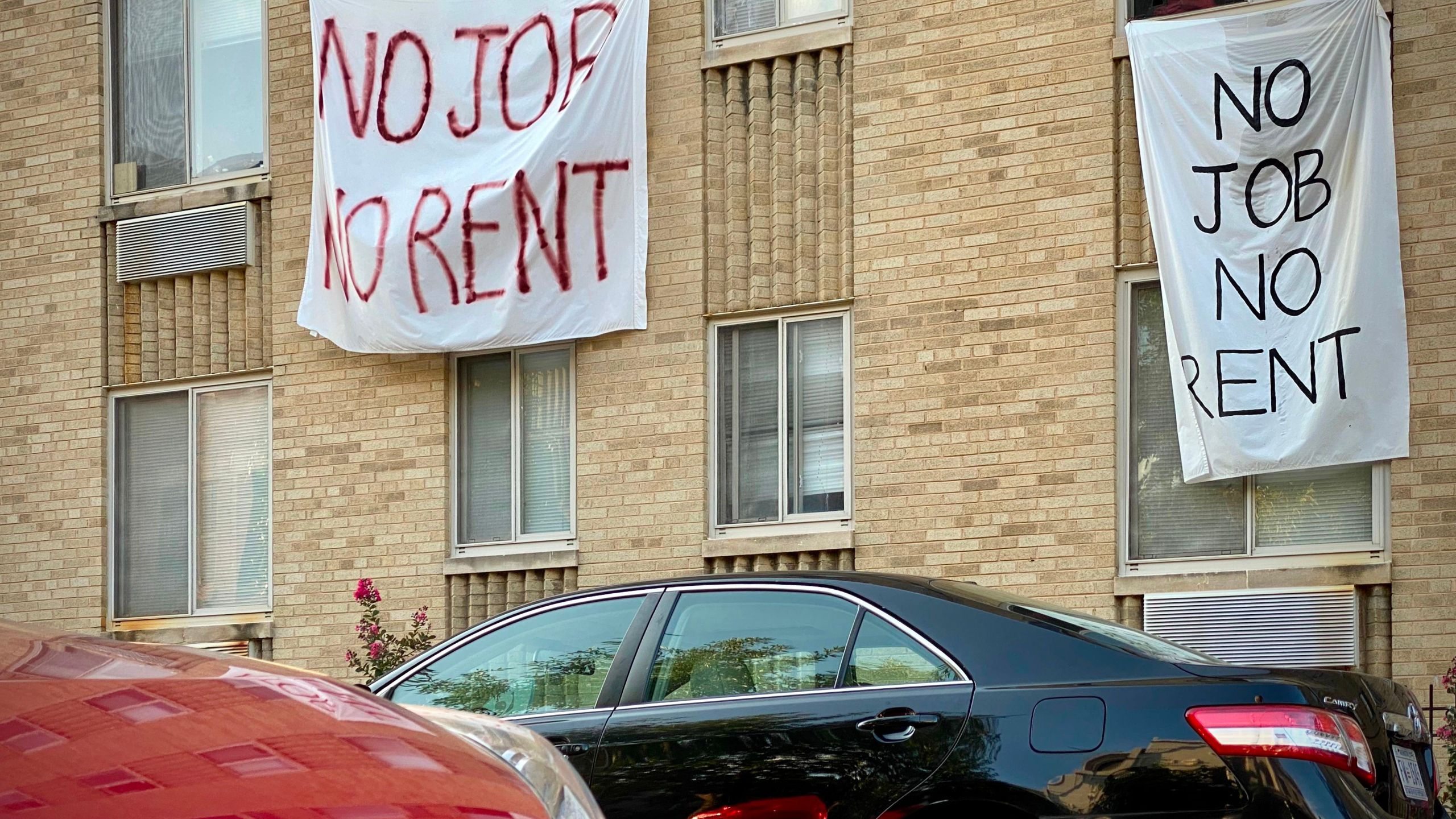 Banners against renters eviction reading no job, no rent is displayed on a controlled rent building in Washington, DC on August 9, 2020. (ERIC BARADAT/AFP via Getty Images)