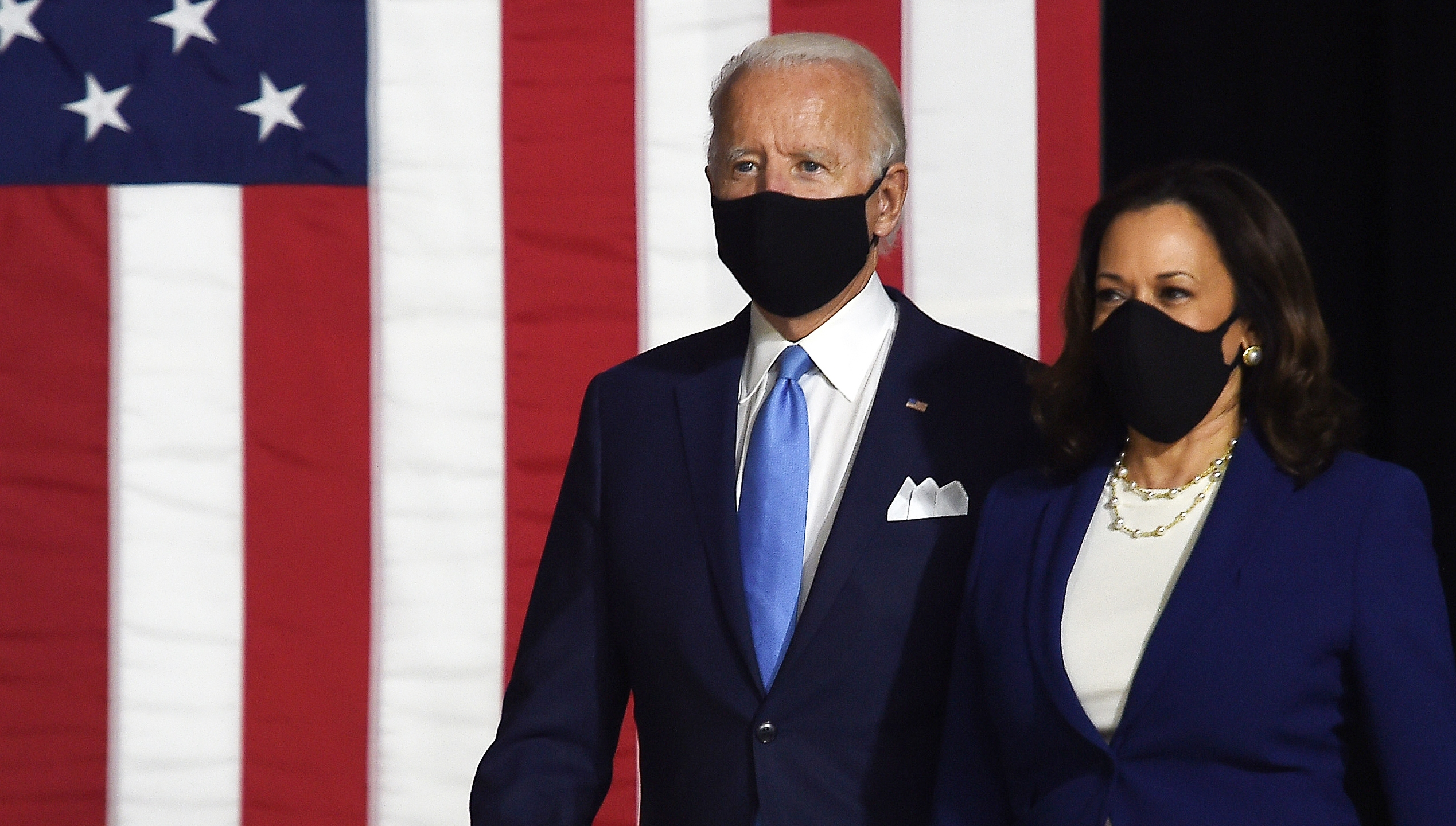 Democratic presidential nominee and Joe Biden and vice presidential running mate, Senator Kamala Harris, arrive to conduct their first press conference together in Wilmington, Delaware, on Aug. 12, 2020. (Olivier DOULIERY via Getty Images)