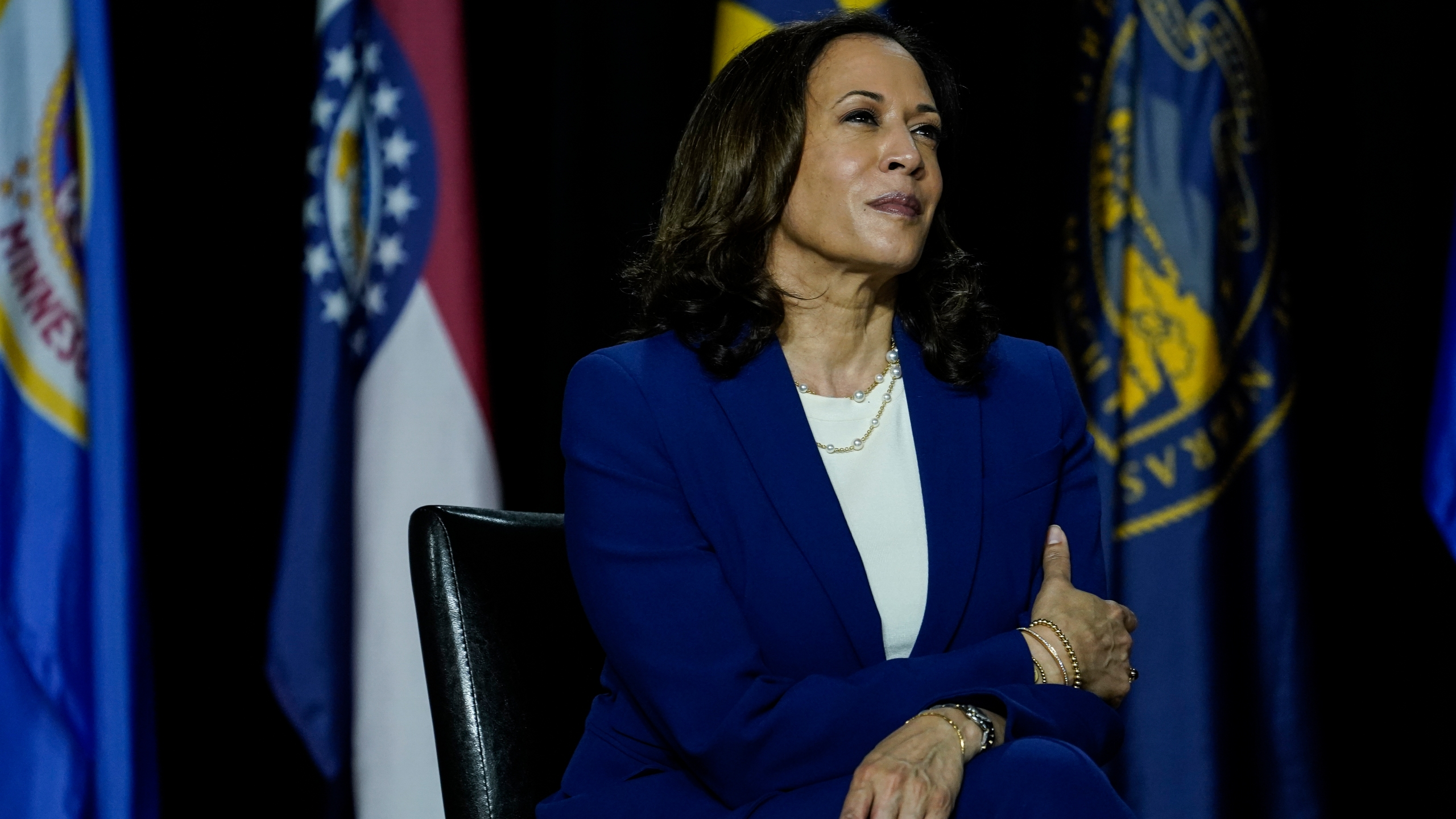 Sen. Kamala Harris listens to Joe Biden make remarks at the Alexis Dupont High School on Aug. 12, 2020 in Wilmington, Delaware. (Drew Angerer/Getty Images)