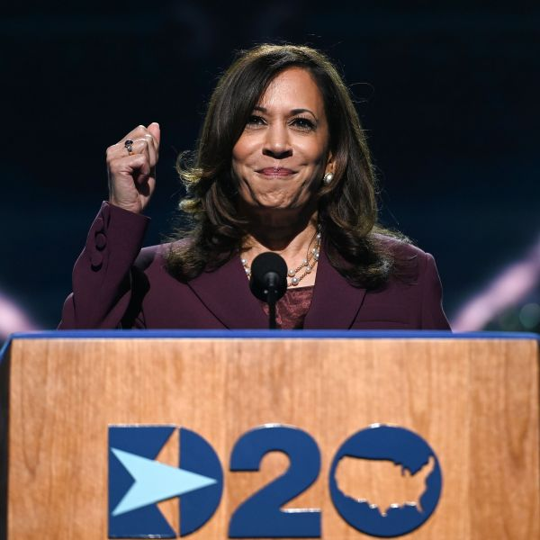 Senator from California and Democratic vice presidential nominee Kamala Harris speaks during the third day of the Democratic National Convention, being held virtually amid the novel coronavirus pandemic, at the Chase Center in Wilmington, Delaware, on Aug. 19, 2020. (Olivier Douliery / AFP / Getty Images)