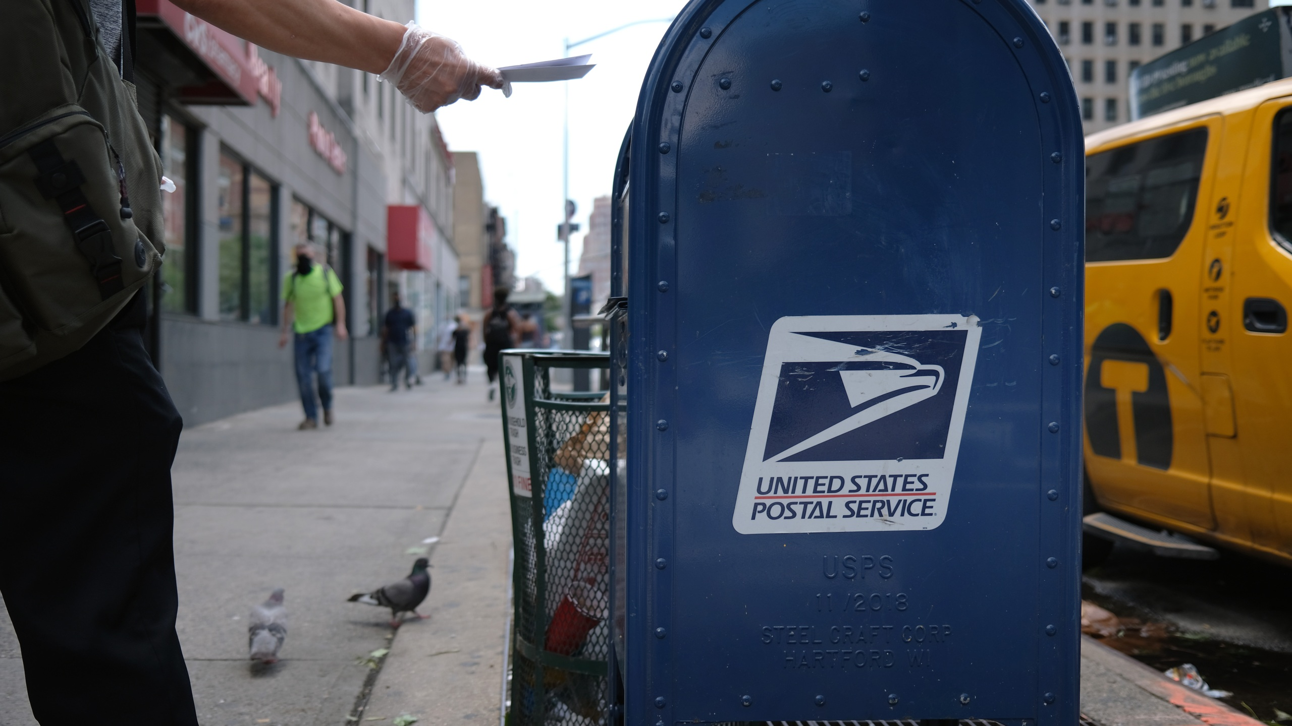 A U.S. Postal Service mail box stands in Manhattan on Aug. 5, 2020 in New York City. (Spencer Platt/Getty Images)
