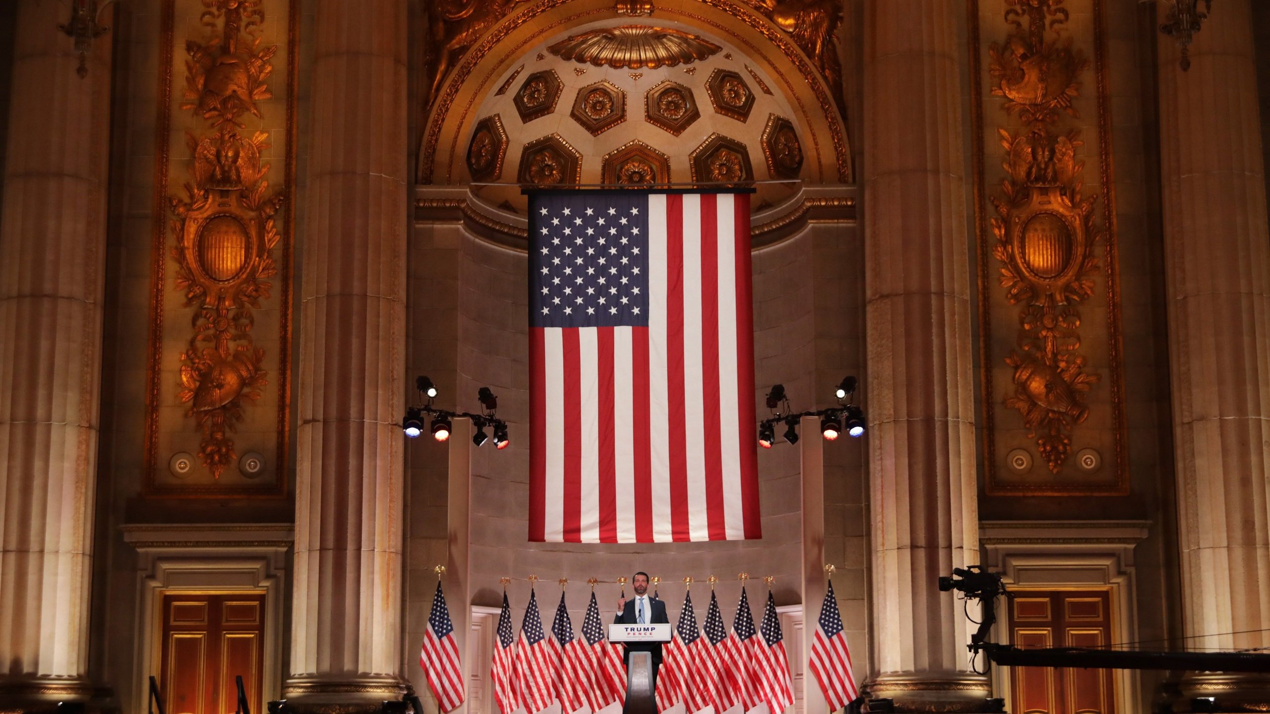 Donald Trump Jr. pre-records his address to the Republican National Convention at the Mellon Auditorium in Washington, D.C. on Aug. 24, 2020. (Chip Somodevilla/Getty Images)
