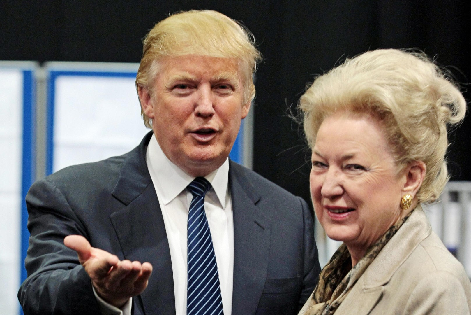 Donald Trump is pictured with his sister, Maryanne Trump Barry, as they adjourn for lunch during a public inquiry over his plans to build a golf resort near Aberdeen, at the Aberdeen Exhibition & Conference centre, Scotland, on June 10, 2008. (ED Jones/AFP via Getty Images)