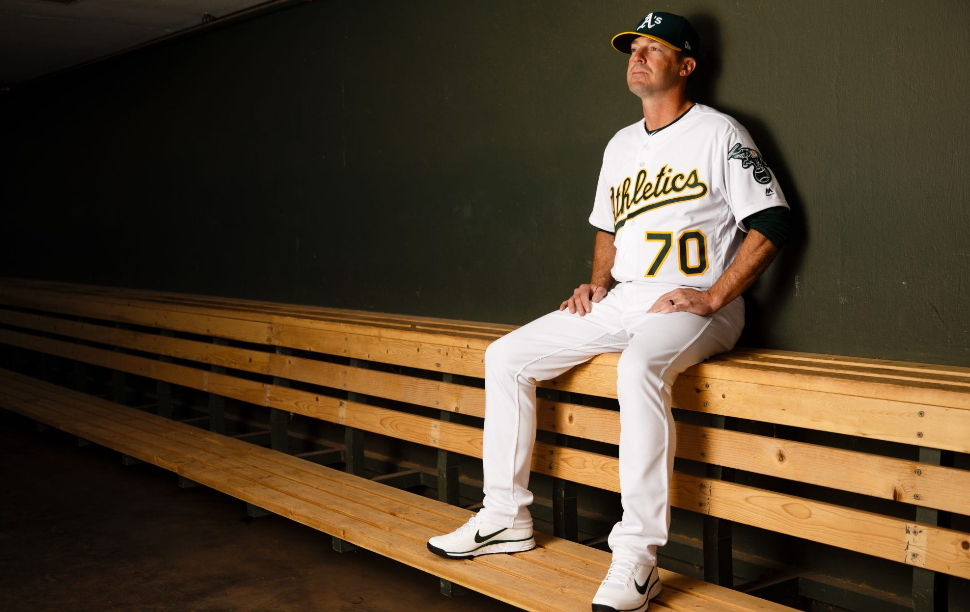 Bench Coach Ryan Christenson of the Oakland Athletics poses for a portrait during photo day on February 22, 2018, in Mesa, Arizona. (Justin Edmonds/Getty Images)