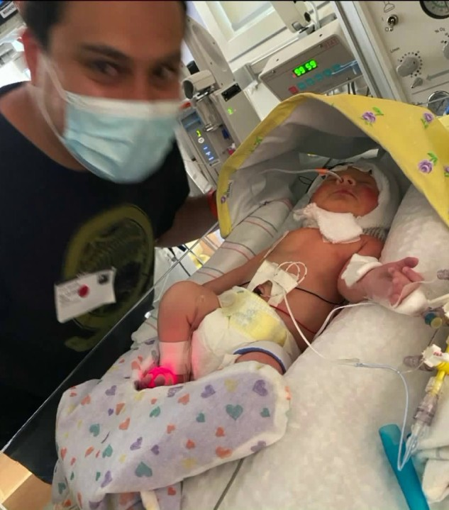 James Alvarez provided KTLA with this photo of himself and baby Adalyn Rose on Aug. 13, 2020.