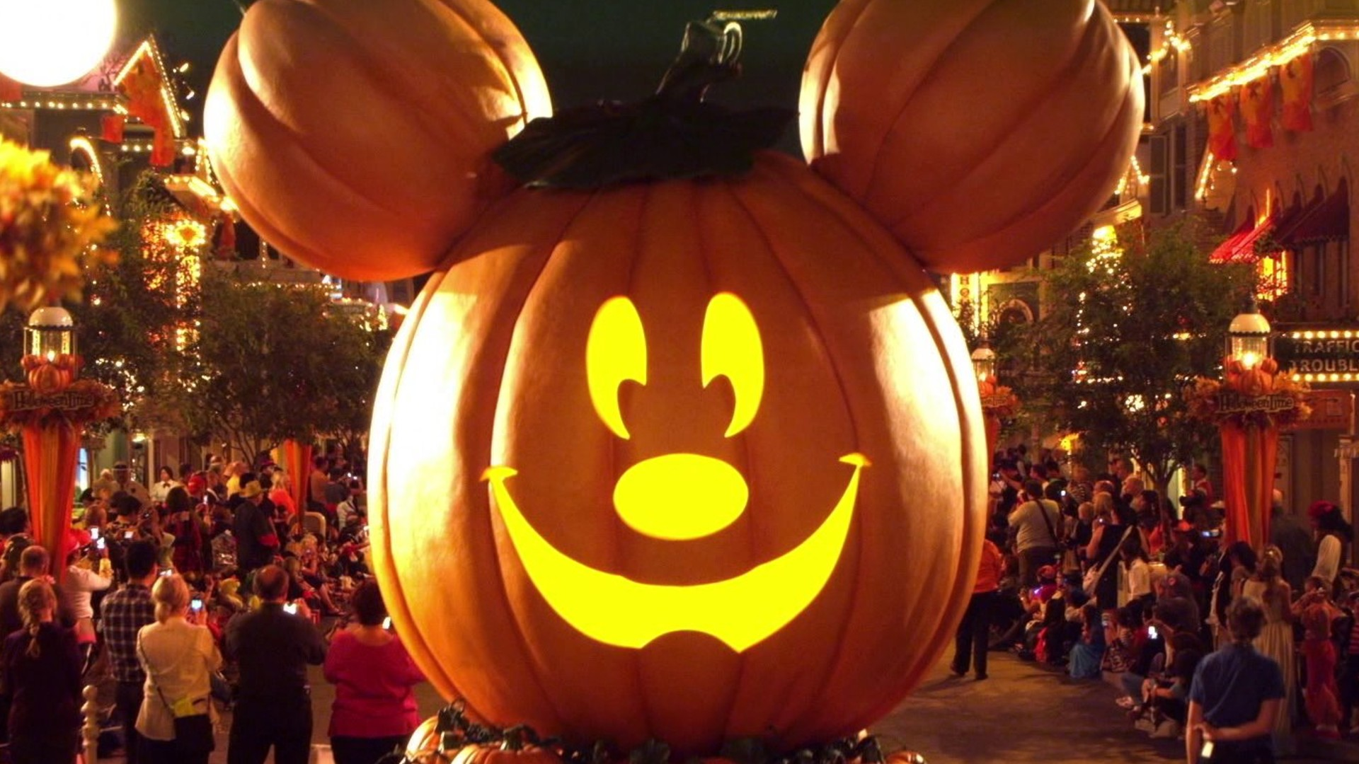 A Mickey Mouse-shaped pumpkin is seen during Halloween Time at Disneyland. (Disneyland Resort)