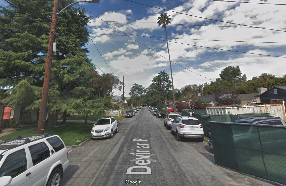 The 600 block of Devirian Place is shown in a Street View image from Google Maps.