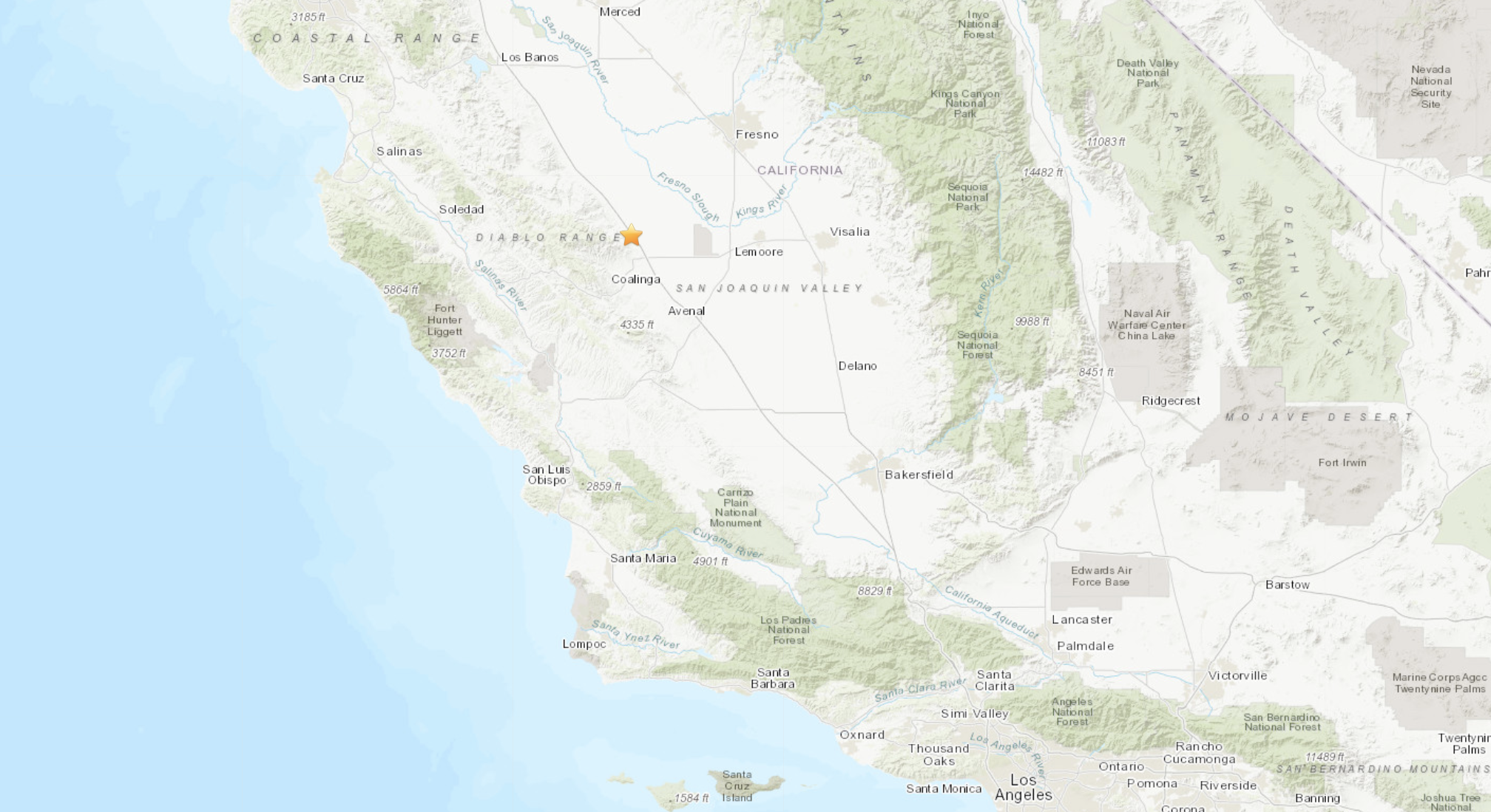 A magnitude-3.2 earthquake was reported Aug. 4, 2020, at 2:28 p.m. 11 miles from Coalinga, Calif., according to the U.S. Geological Survey. (USGS)