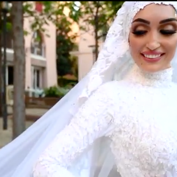 A photographer in Beirut was filming a bride on her wedding day when an explosion suddenly ripped through the city. (Mahmoud Nakib via CNN)