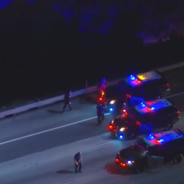 Authorities take a suspected pursuit driver into custody on Aug. 15, 2020, on the side of the westbound 91 Freeway. The chase traveled through multiple Orange County cities. (KTLA)