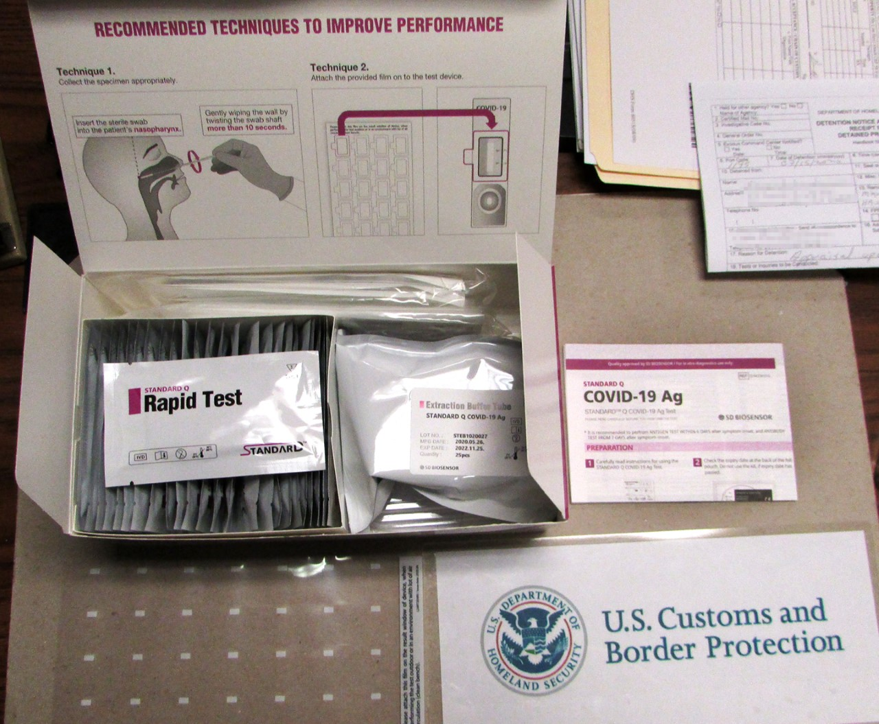 Counterfeit coronavirus tests seen in an undated photo released by U.S. Border Patrol.
