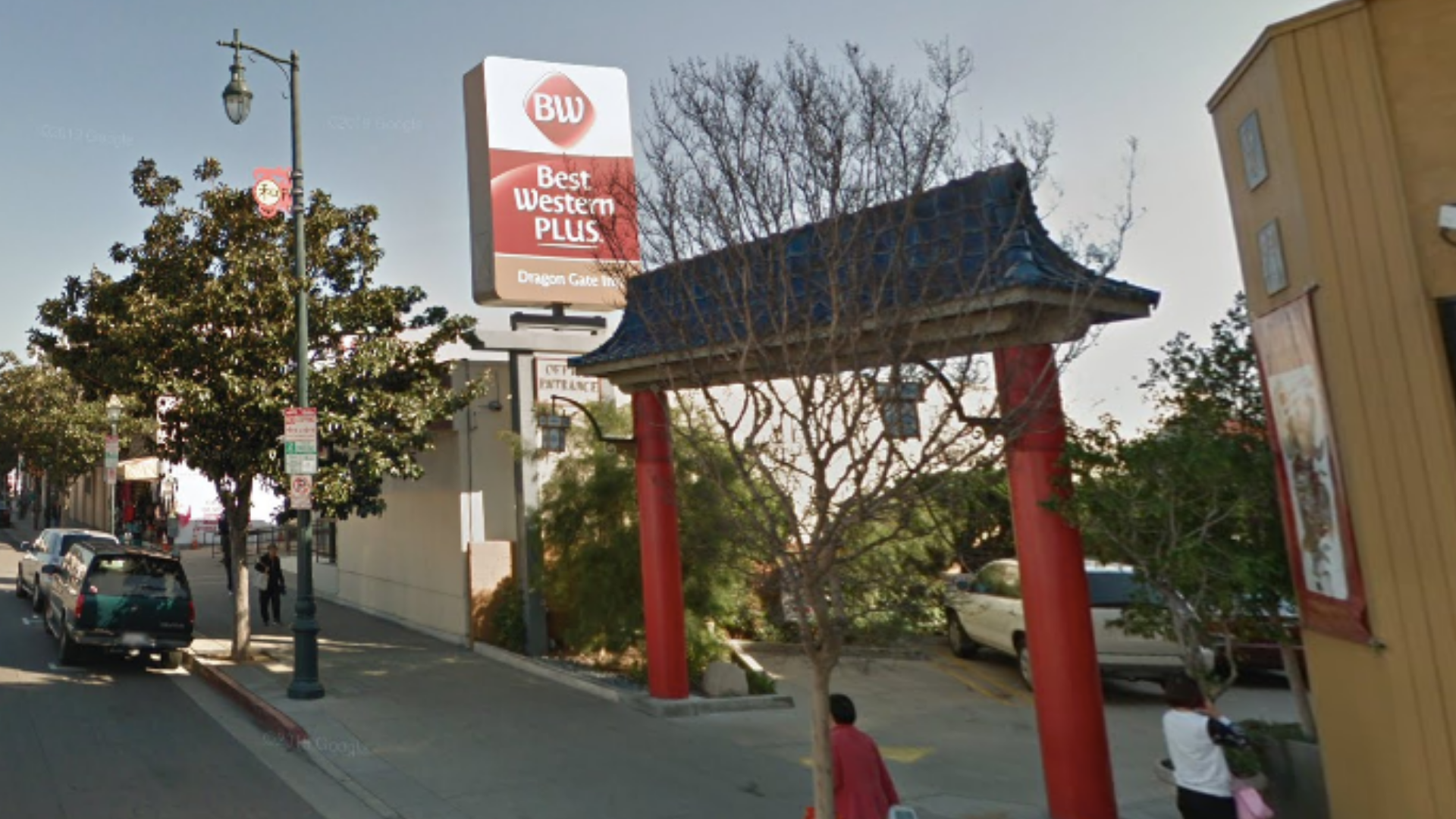 The Best Western Plus Dragon Gate Inn in Chinatown, Los Angeles is seen in a Google Maps image.