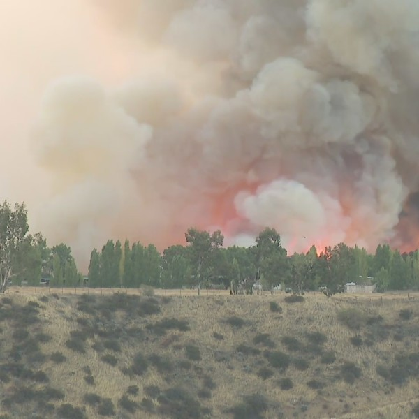 The Apple Fire burns in the Cherry Valley area of Riverside County on Aug. 1, 2020. (KTLA)