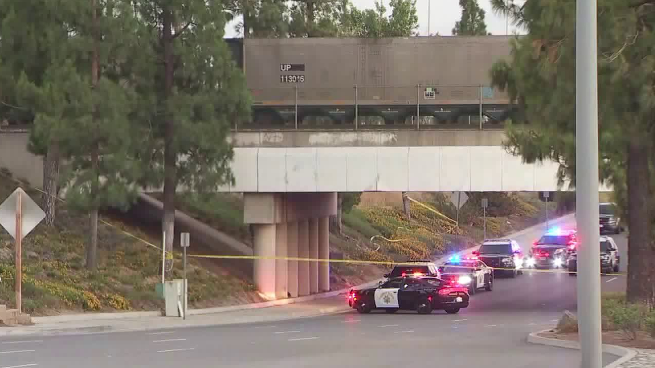 California Highway Patrol shut down Haven Avenue in Ontario after one of its officers fatally shot a man in the area on Aug. 6, 2020. (KTLA)