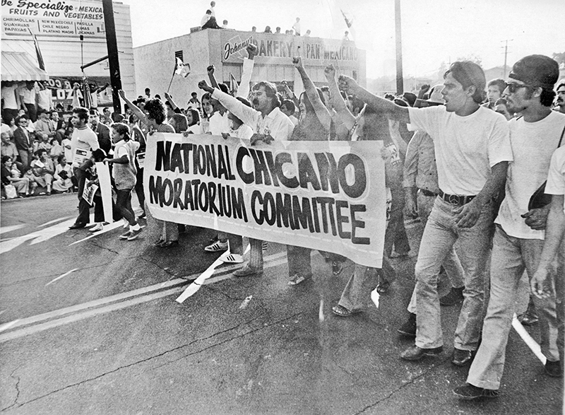 National Chicano Moratorium marchers protest in East L.A. in 1970. (Los Angeles Times)