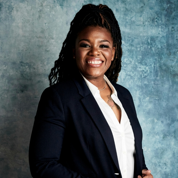 """Cori Bush poses for a portrait to promote the film """"Knock Down the House"""" during the Sundance Film Festival in Park City, Utah, on Jan. 27, 2019. (Taylor Jewell / Invision / Associated Press)"""