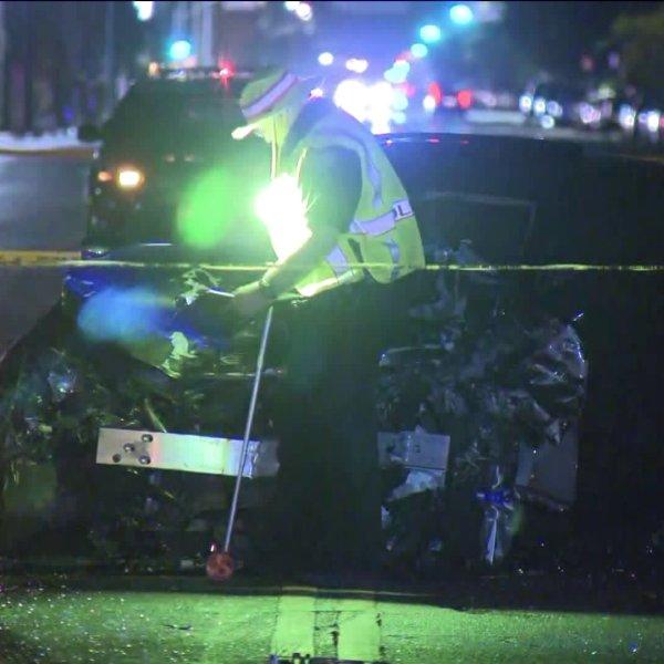A teenager was killed in a crash in Lake Balboa on Aug. 6, 2020. (KTLA)