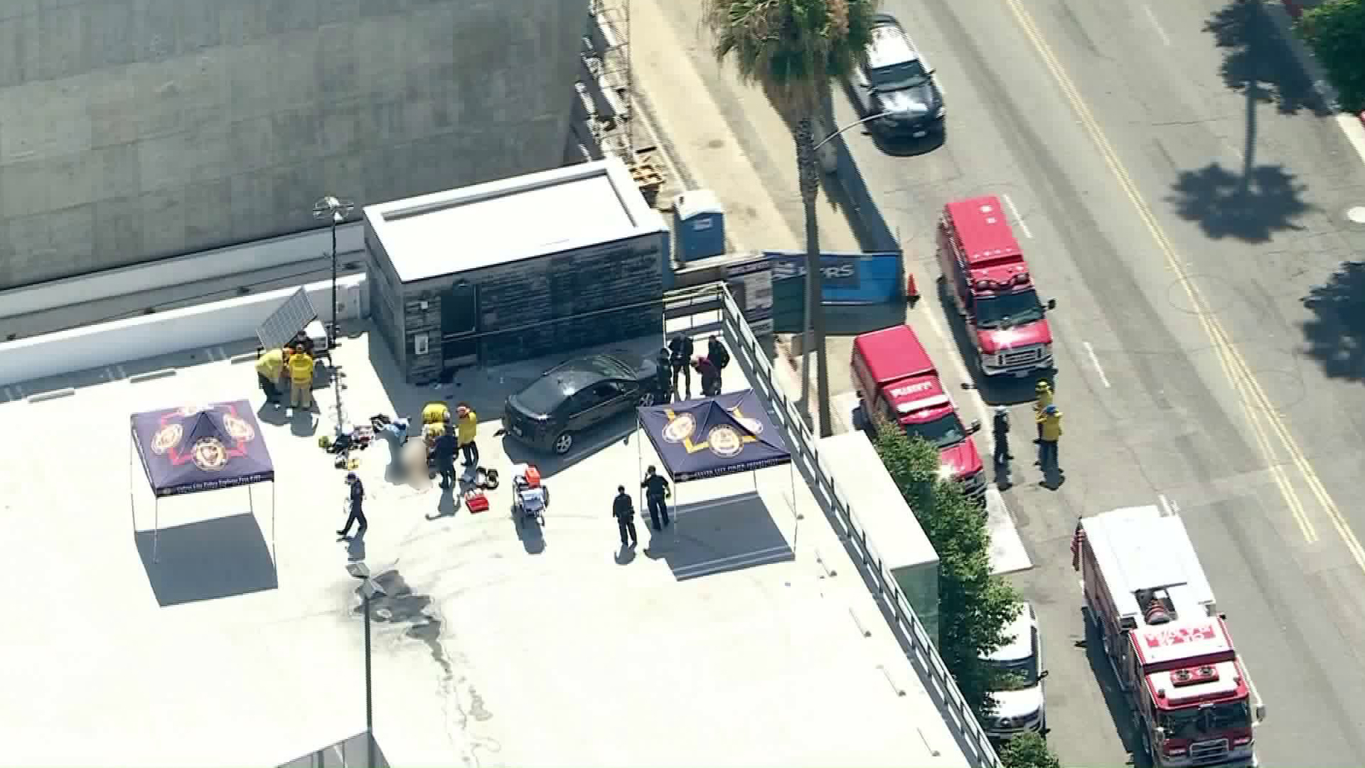 Police and firefighters respond to the scene of an officer-involved shooting in Culver City on Aug. 3, 2020. (KTLA)