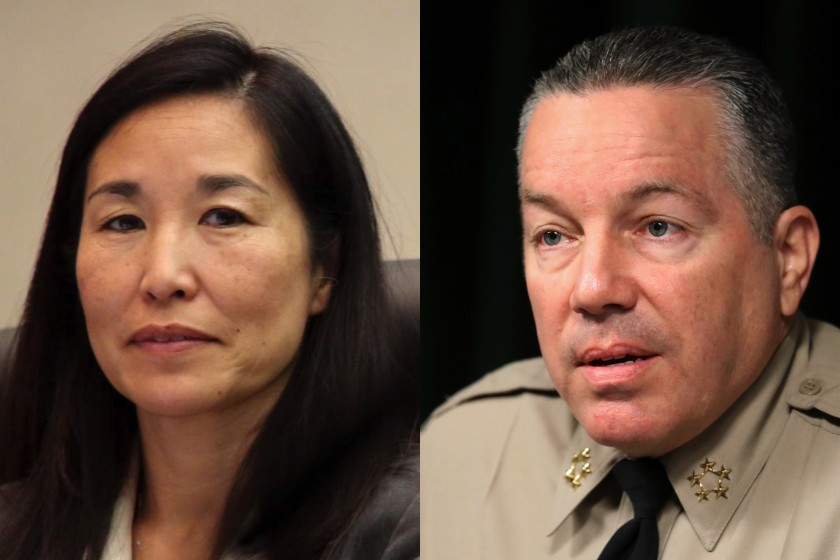 From left: Sachi Hamai, Los Angeles County's outgoing chief executive, and county Sheriff Alex Villanueva are seen in undated photos. (Los Angeles Times)