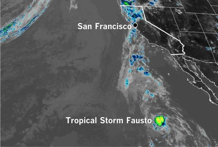 A moisture plume from Tropical Storm Fausto streams toward Northern California in a satellite image taken at noon Sunday.(NOAA & Los Angeles Times)