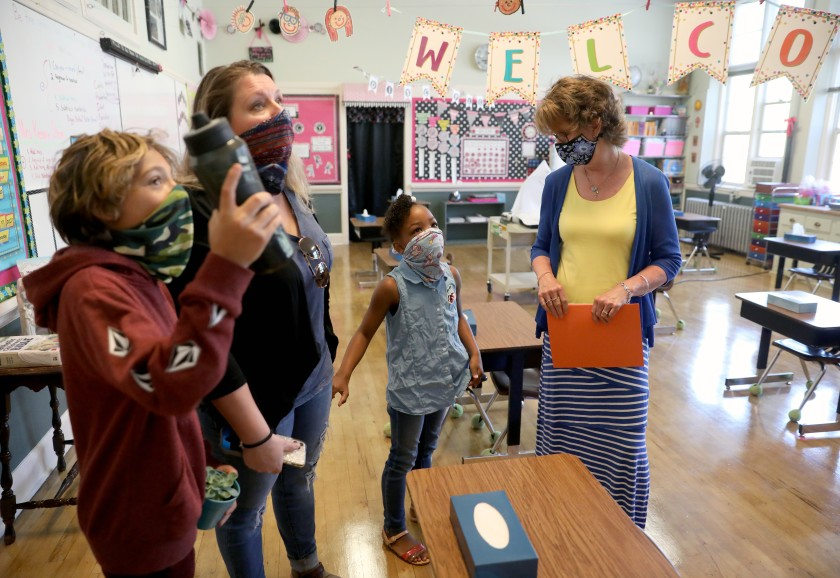 Students, teachers and parents visit a classroom at Mount St. Mary's Academy, a private Catholic grade school in Grass Valley, Calif. (Gary Coronado / Los Angeles Times)