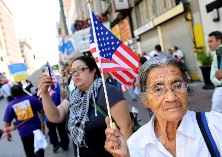 Demonstrators at a march for immigrants rights in downtown Los Angeles, May 2011. The youngest Latinos are most likely to use the term 'Latinx' to self-identify.(Wally Skalij / Los Angeles Times)