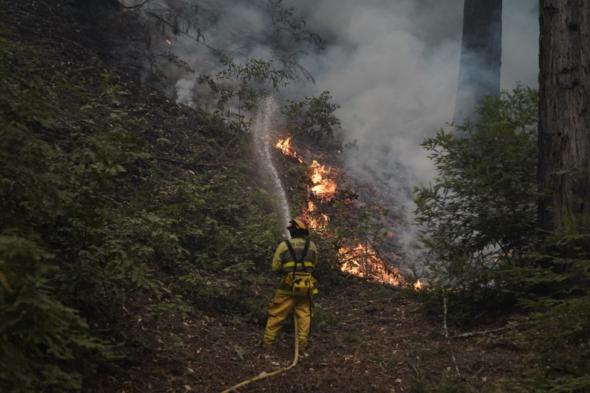 Firefighters work to contain a blaze during the CZU August Lightning Complex Fires on Friday, Aug. 21, 2020 in Ben Lomond, CA. (Kent Nishimura/Los Angeles Times)