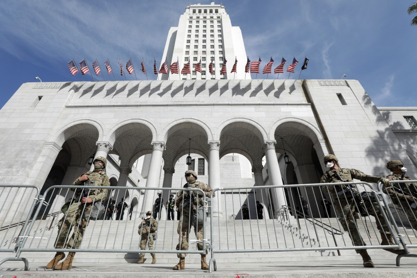 California National Guard troops at City Hall in downtown Los Angeles in June, 2020. (Myung J. Chun / Los Angeles Times)