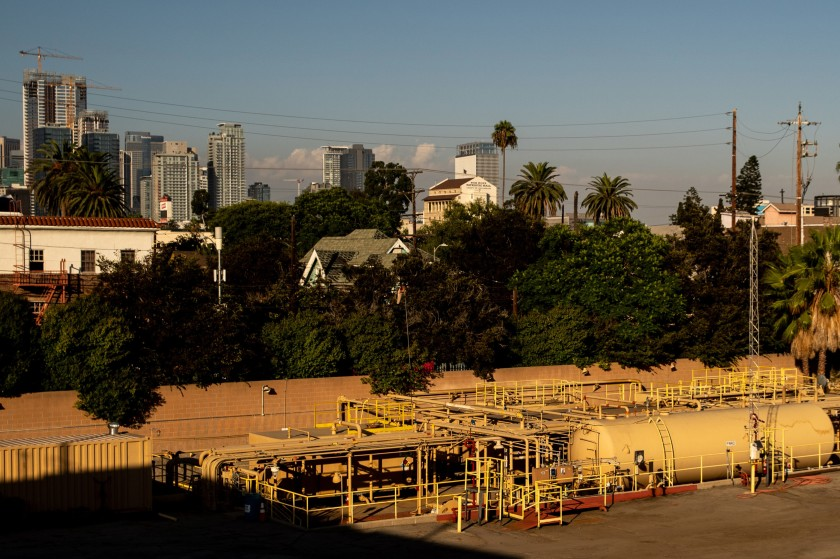 The Allenco Energy drill site near USC in 2019.(Kent Nishimura / Los Angeles Times)