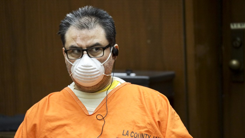 Naason Joaquin Garcia appears in a Los Angeles courtroom for a bail hearing on Aug. 5, 2020. (Irfan Khan / Los Angeles Times)