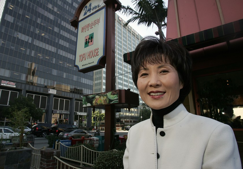 Hee-sook Lee is seen outside BCD Tofu House on Vermont Avenue in Koreatown in this undated file photo. (Spencer Weiner / Los Angeles Times)